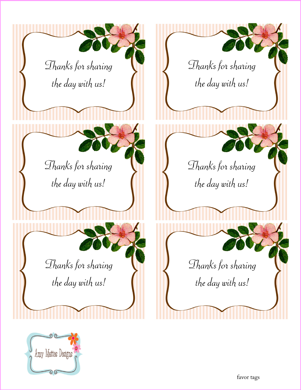 Smart image within printable favor tags