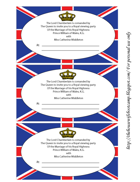 Free Royal Wedding Viewing Party Printables From The