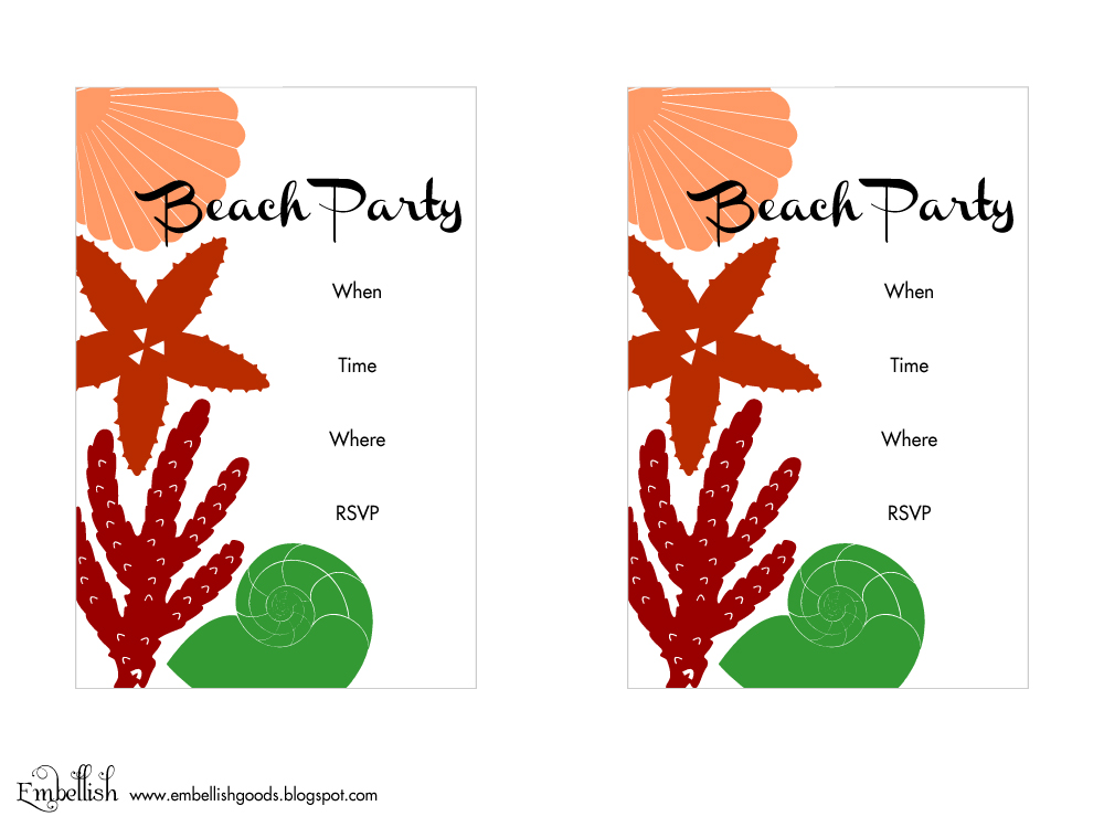 This is a picture of Superb Beach Party Invitations Free Printable