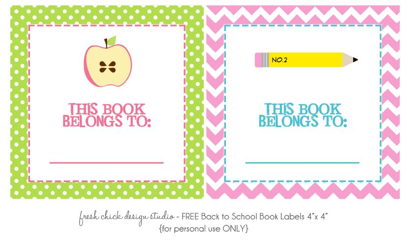 FREE Back to School Book Labels and Lunch Labels from Fresh