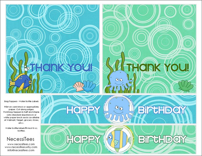 picture about Under the Sea Printable titled Totally free Below the Sea Birthday Printables against NecessiTees