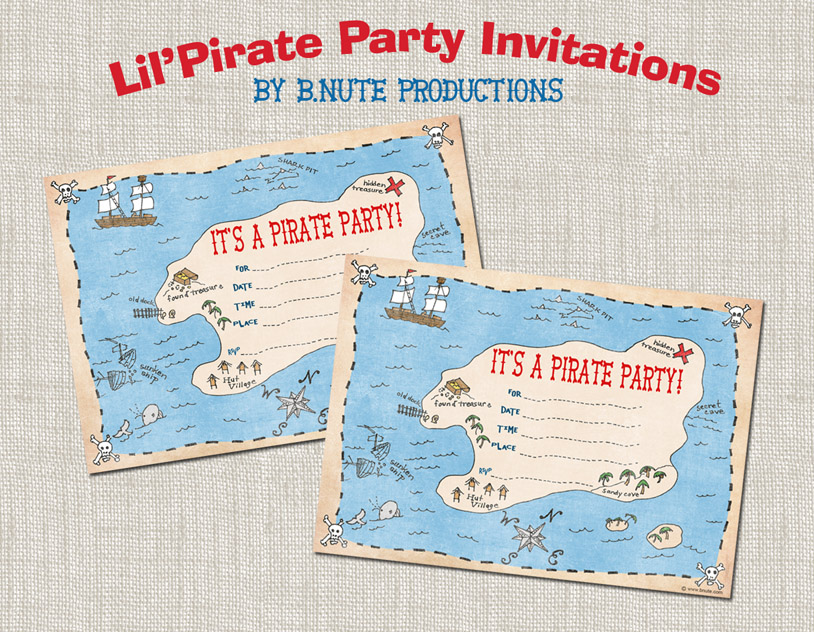 FREE Pirate Birthday Printables from B Nute productions – Pirate Party Invites