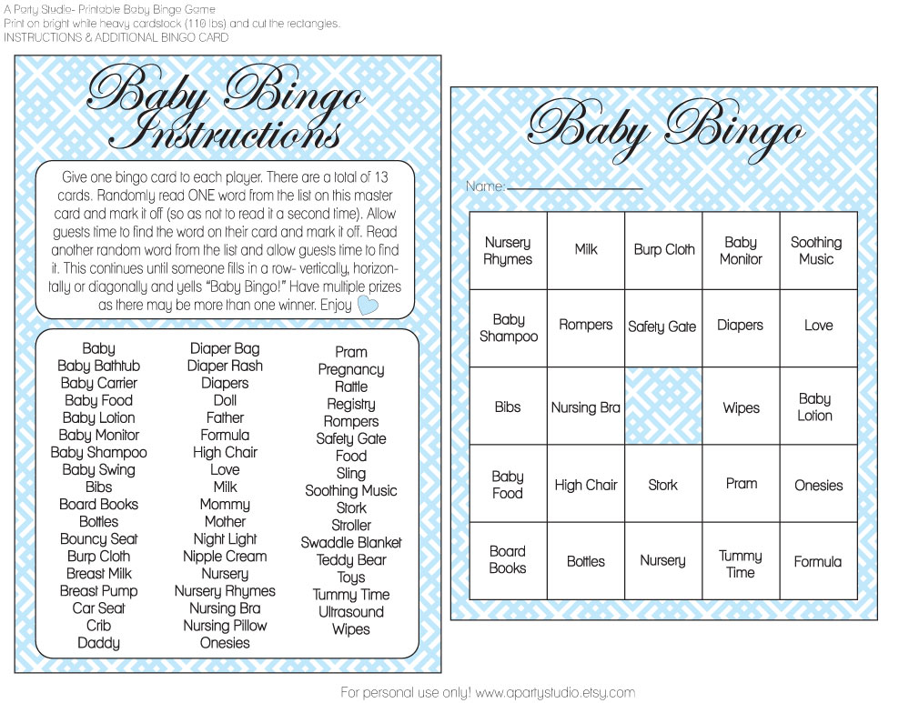 free girl and boy baby shower bingo printables from a party studio