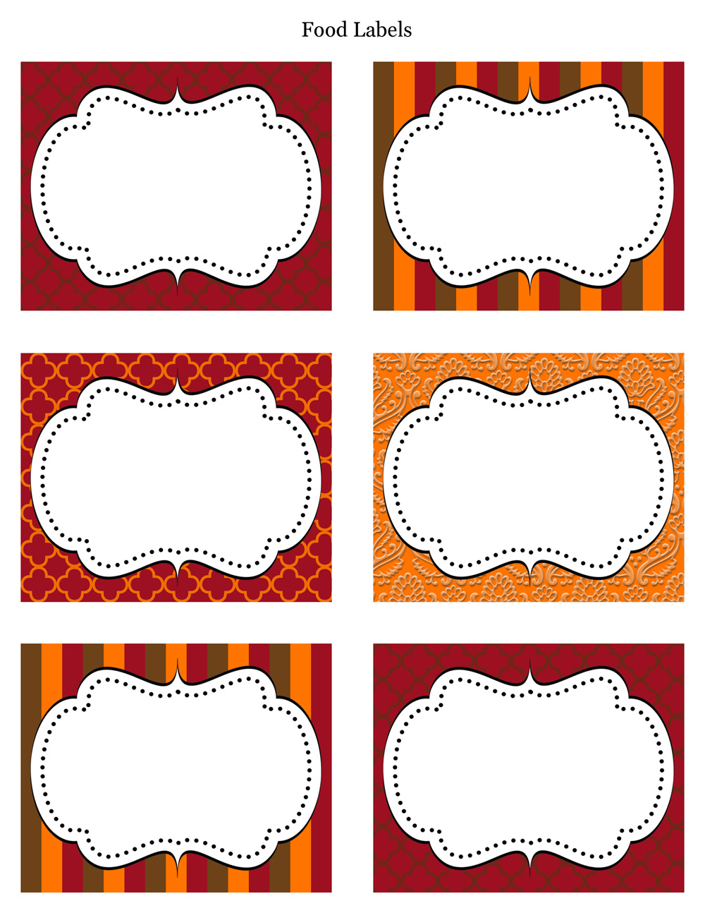 Fall Label Party Printable Printable Thanksgiving