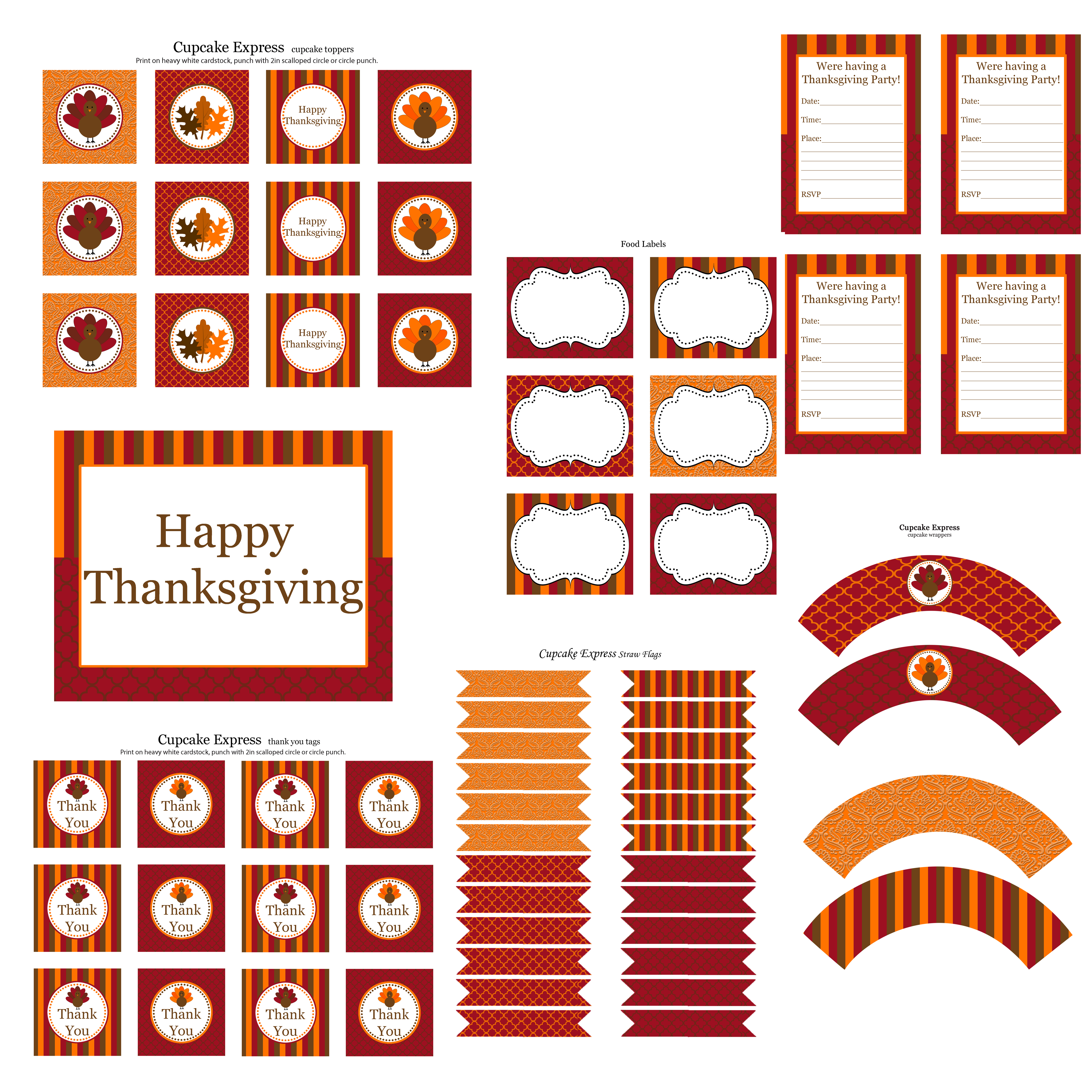 free thanksgiving party printables from cupcake express catch my
