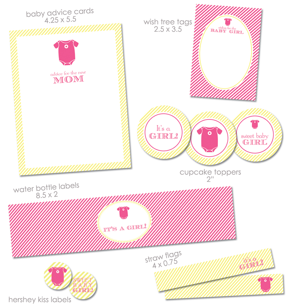 Free it 39 s a girl baby shower printables from green apple for Baby shower decoration free