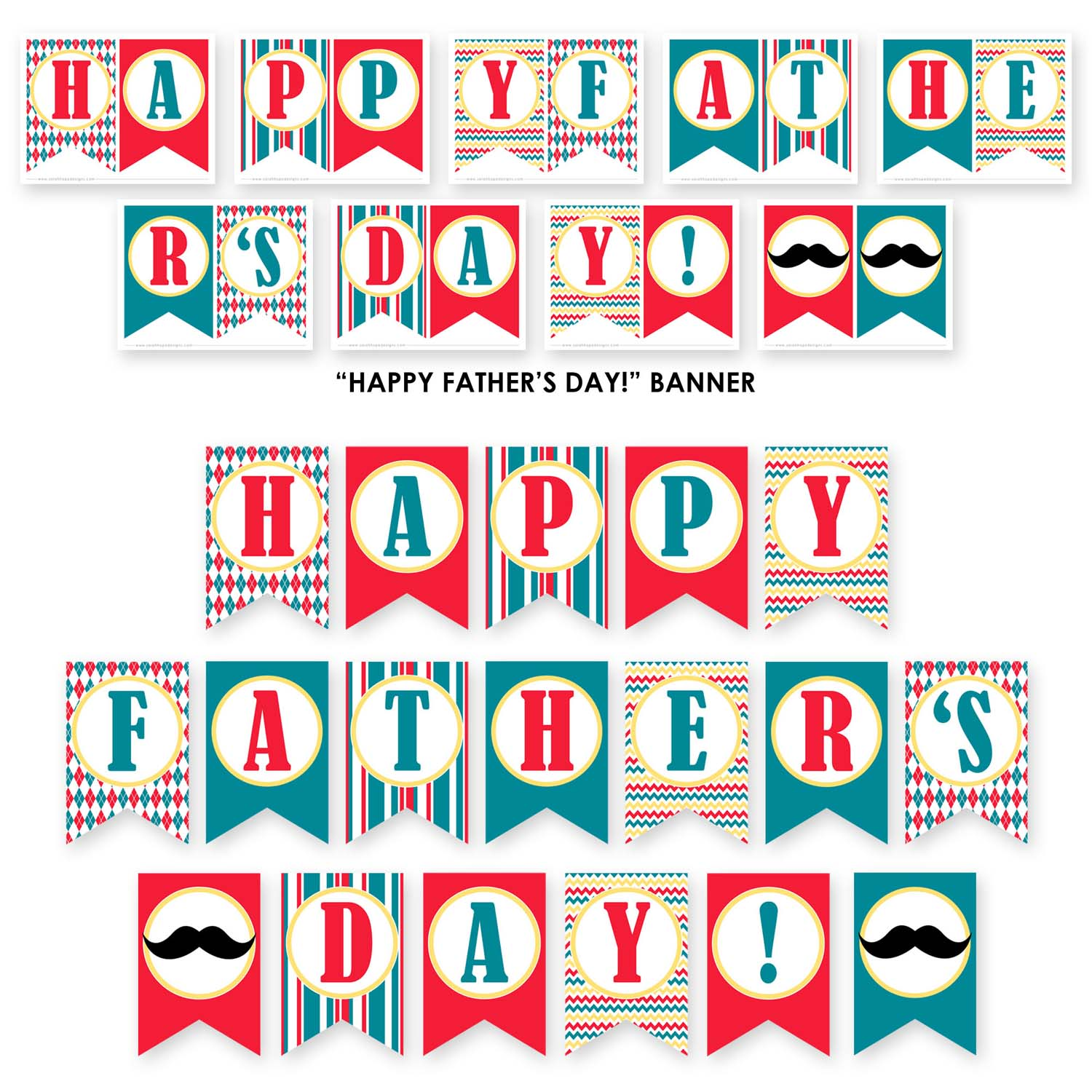 Revered image with happy father's day banner printable