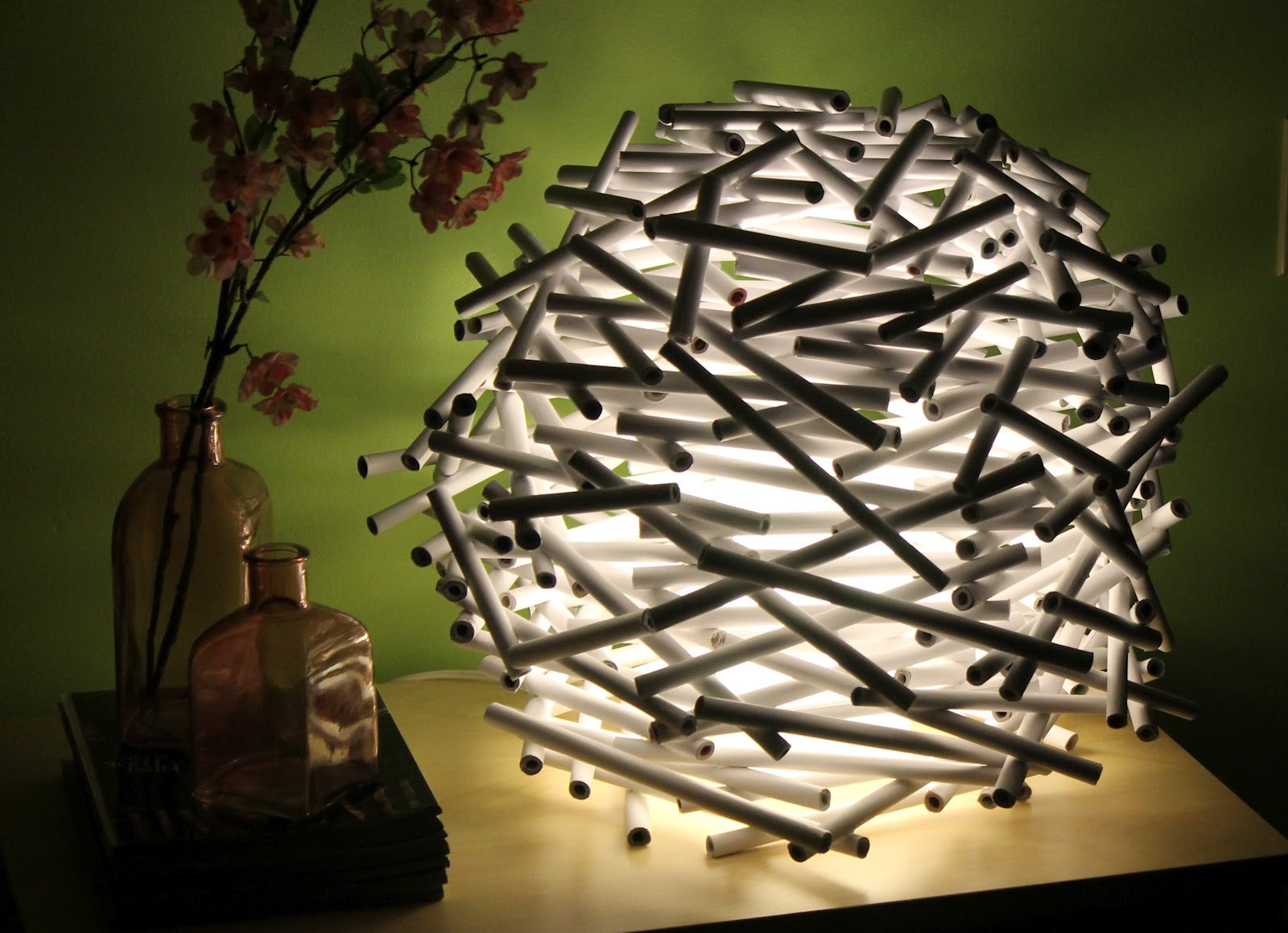 Diy how to make a bird 39 s nest lamp shade out of newspaper catch my party - Diy lamp shade ...