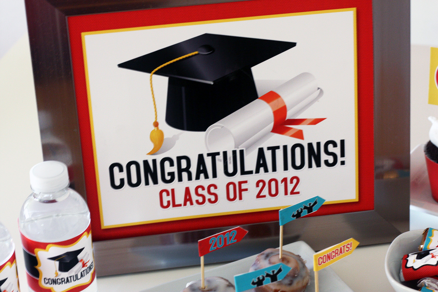 This is a photo of Clean Printable Graduation Decorations