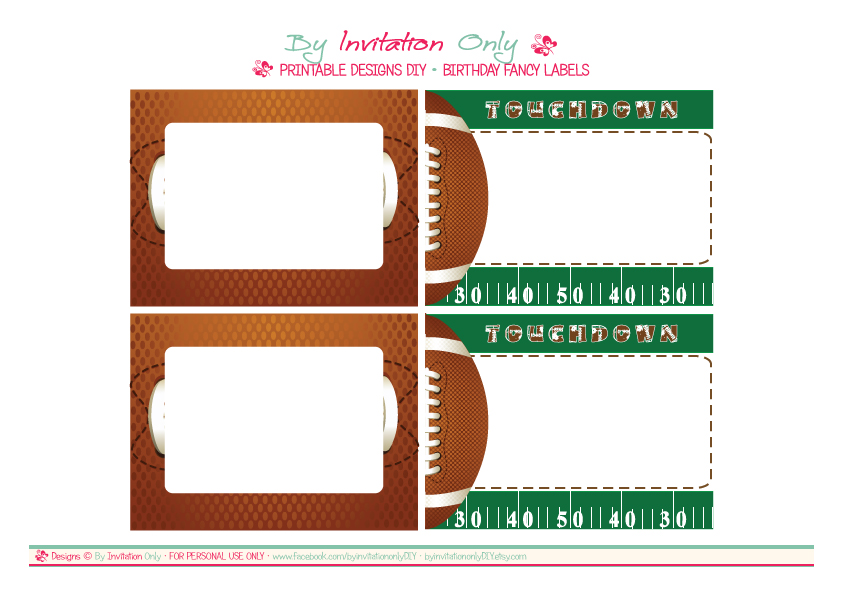 FREE Football Party Printables from By Invitation Only DIY | Catch ...