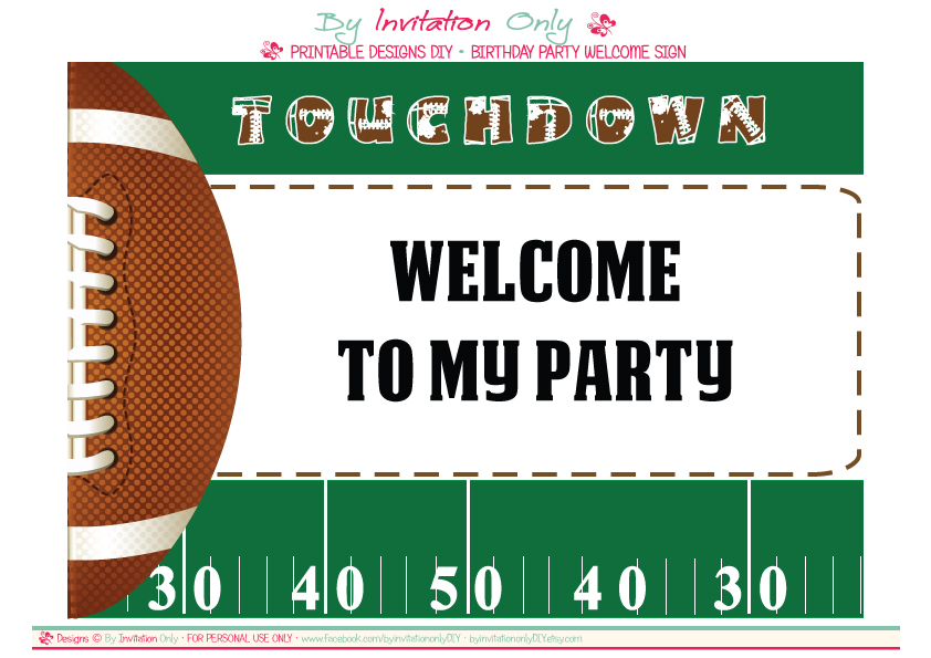 free football party printables from by invitation only diy  catch, Birthday invitations