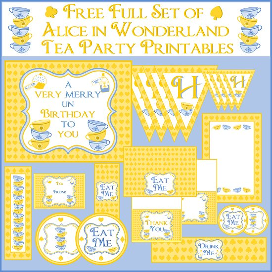 free alice in wonderland tea party printables