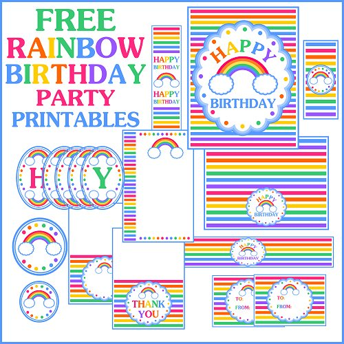 free rainbow birthday printables from printabelle  catch my party, Birthday invitations