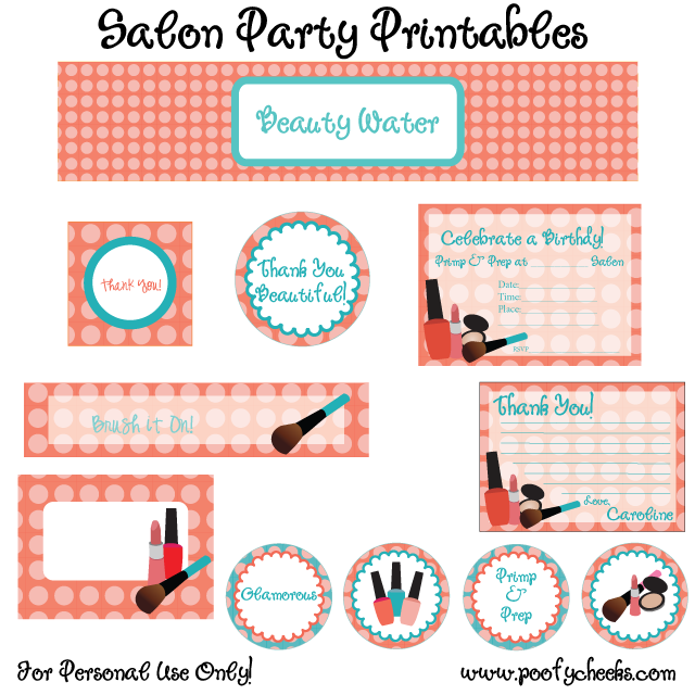 FREE Salon Birthday Party Printables from Poofy Cheeks Catch My Party
