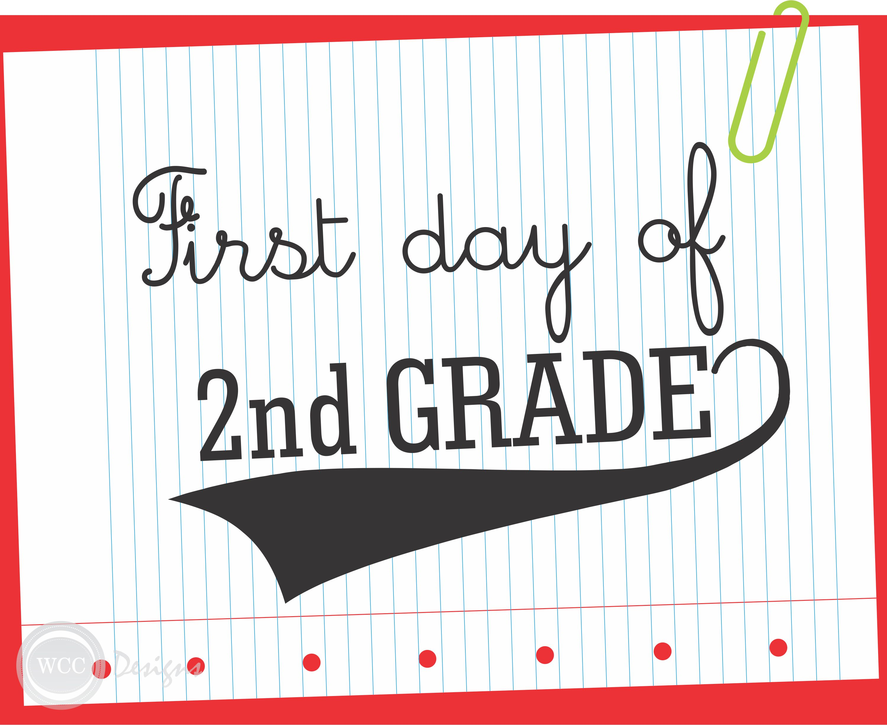 It is a picture of Agile First Day of 2nd Grade Printable Sign