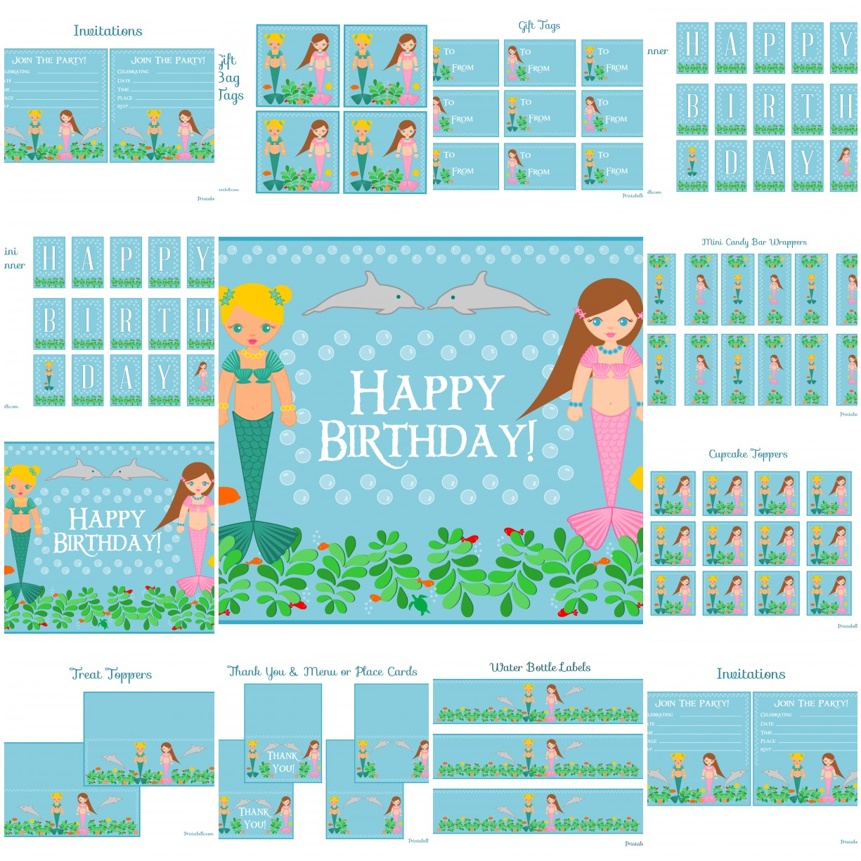 Free Mermaid Birthday Party Printables From Printabelle Catch My Party