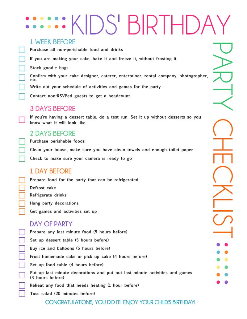 Birthday Party Planning Checklist Template Free Printable Kids' Party Planning Checklist  Catch My Party