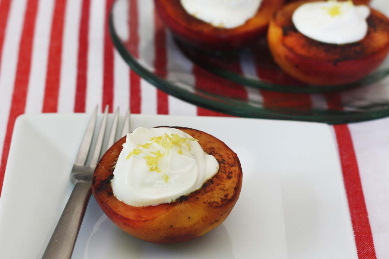 Grilled Peaches With Honey And Yogurt Recipe — Dishmaps