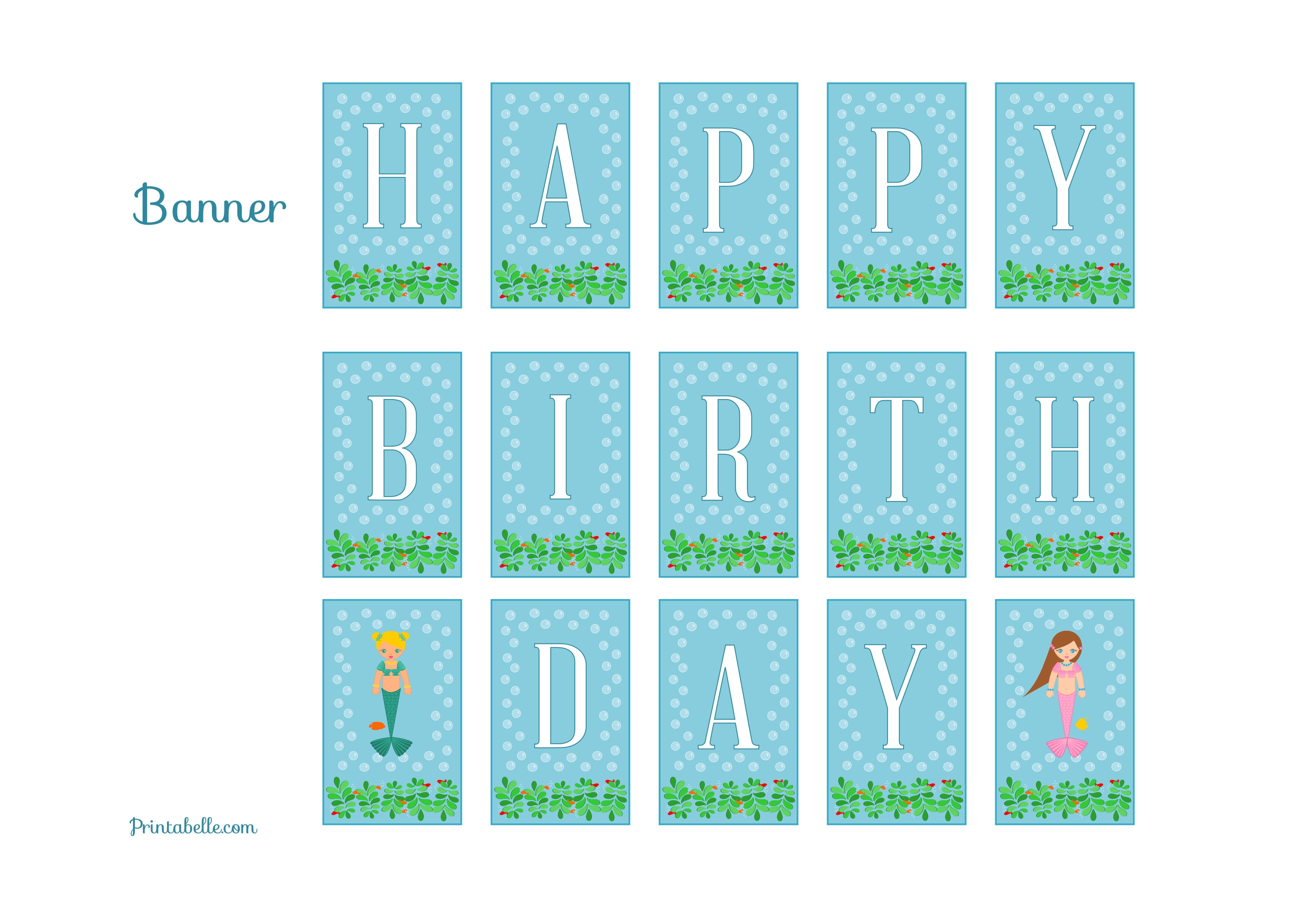 Free birthday banner images - Free Mermaid Birthday Party Printables From Printabelle