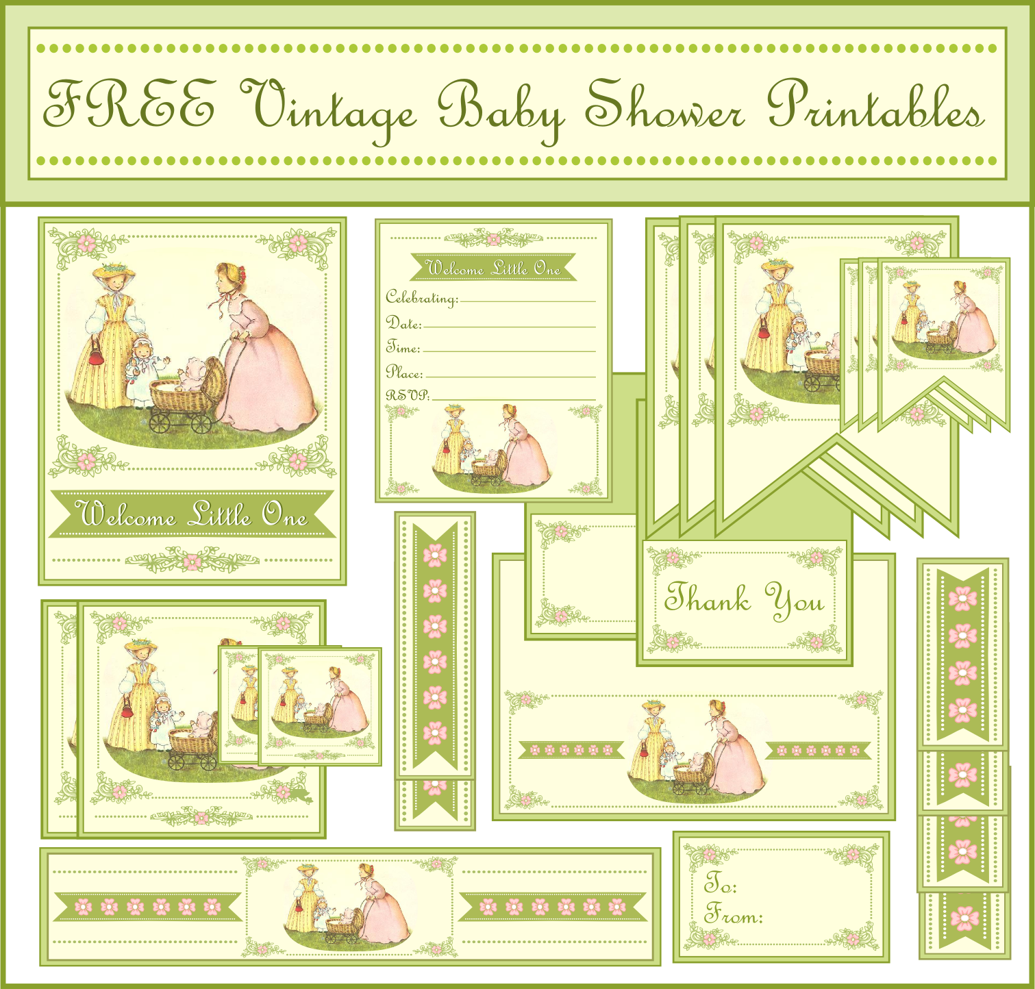 graphic relating to Free Vintage Printable identified as Absolutely free Typical Child Shower Printables versus Printabelle Capture
