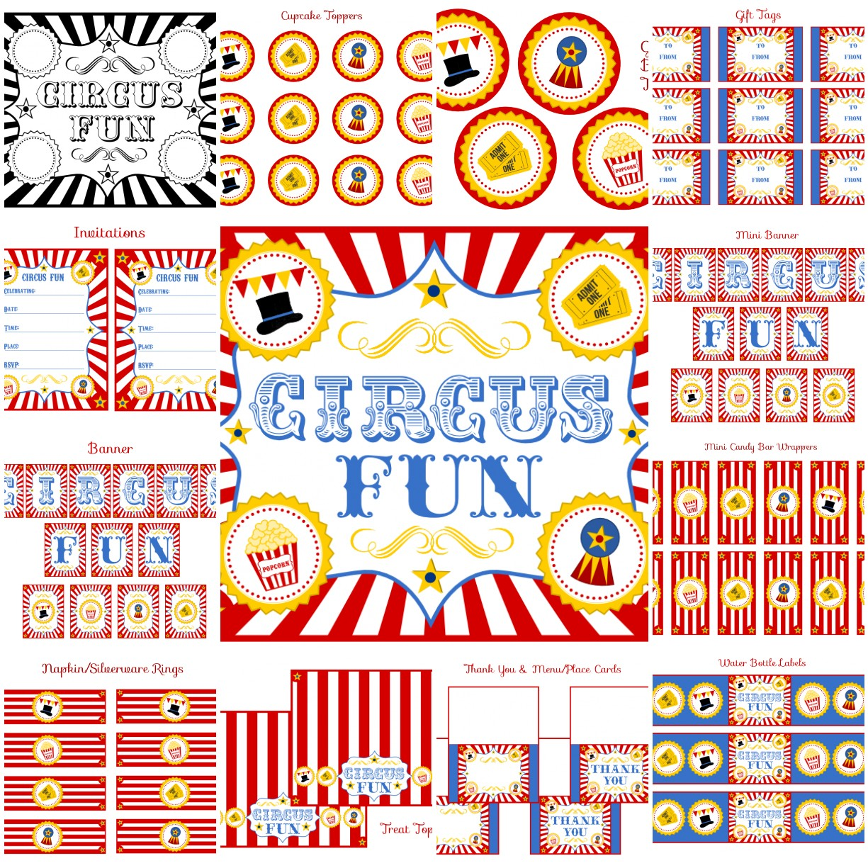 FREE Circus Birthday Party Printables From Printabelle Catch My Party - Cupcake name tag template