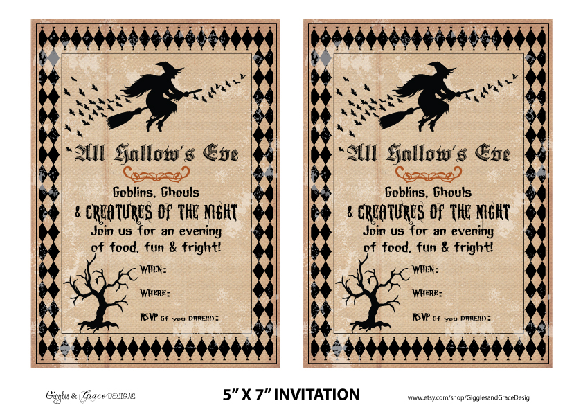 Modest image in halloween invites printable