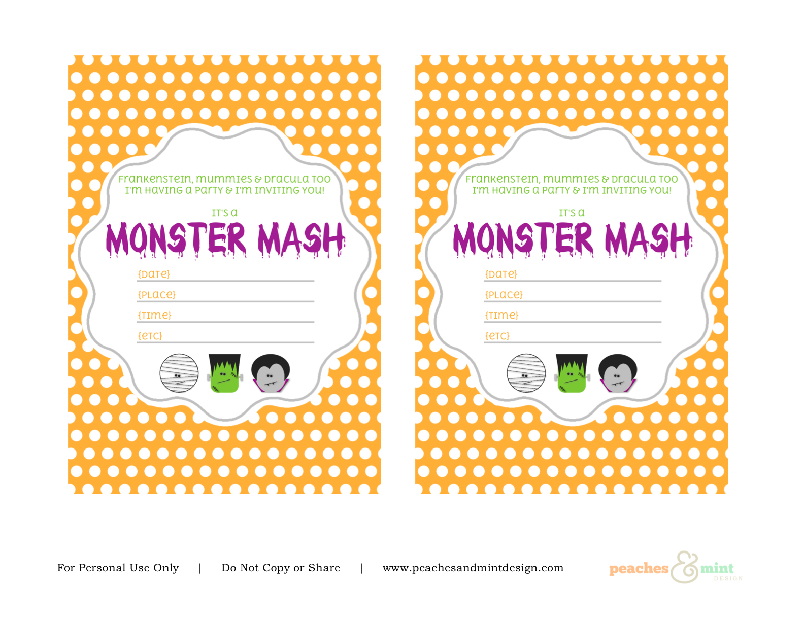 graphic about Printable Halloween Birthday Invitations known as Totally free Halloween Printables in opposition to Peaches Mint Style Capture