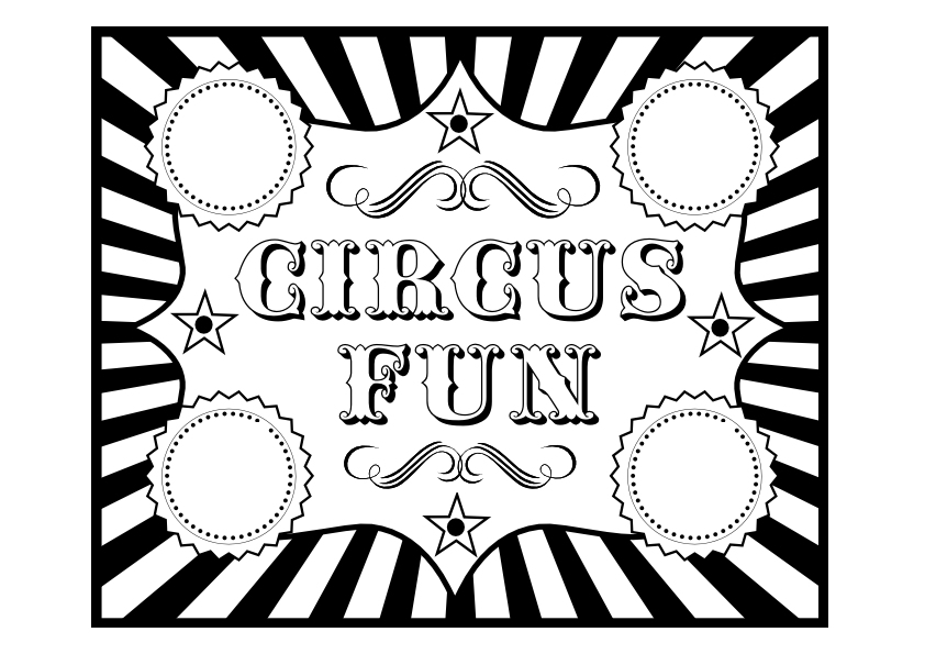 circus coloring pages printable - free circus birthday party printables from printabelle