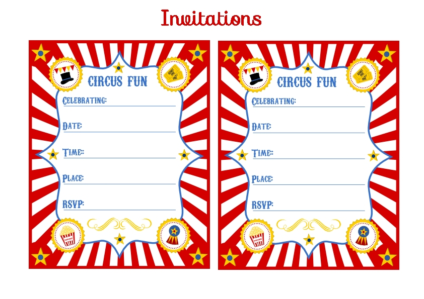 free circus birthday party printables from printabelle  catch my, Birthday invitations