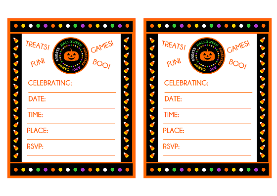FREE Candy Corn Halloween Party Printables from Printabelle – Halloween Party Invitation Printable Free