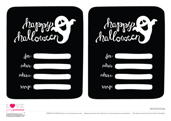 free halloween party printables from love party printables  catch, party invitations