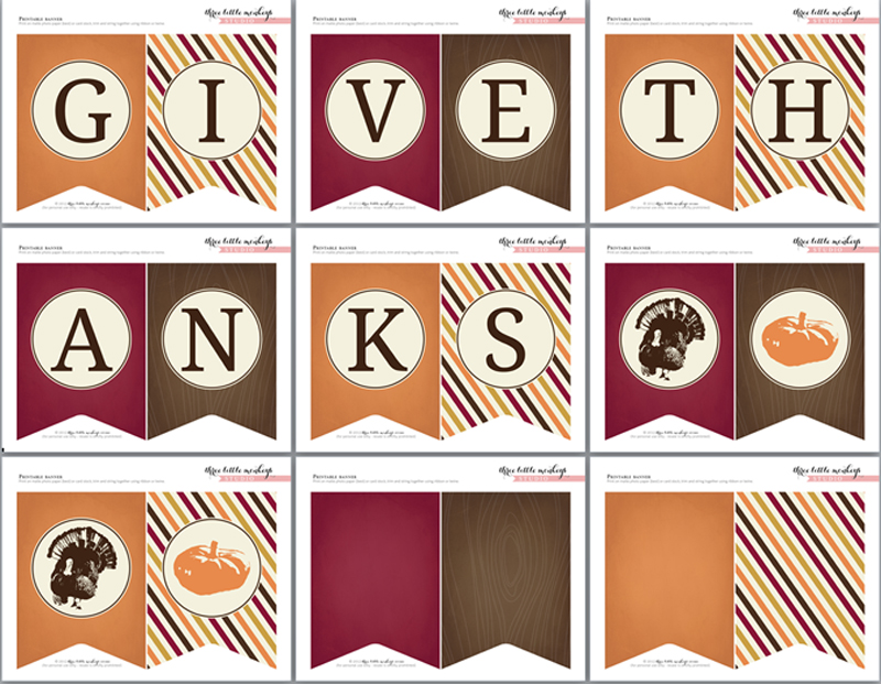 Punchy image inside printable thanksgiving banner