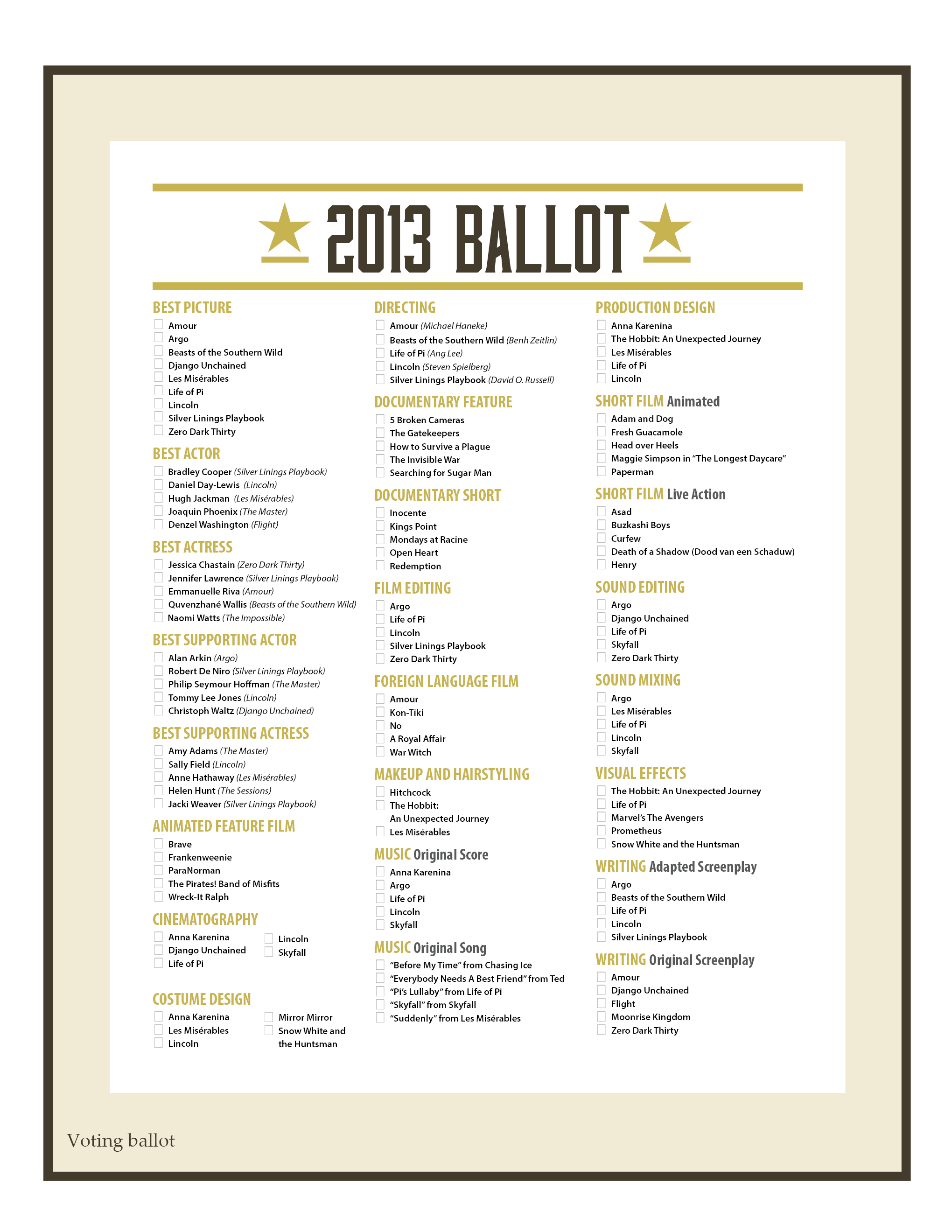 Oscar Official Ballot besides 1 additionally Oscars Banquet 2014 further Printable Oscar Ballot as well 89th Academy Awards. on oscar nominations invitations
