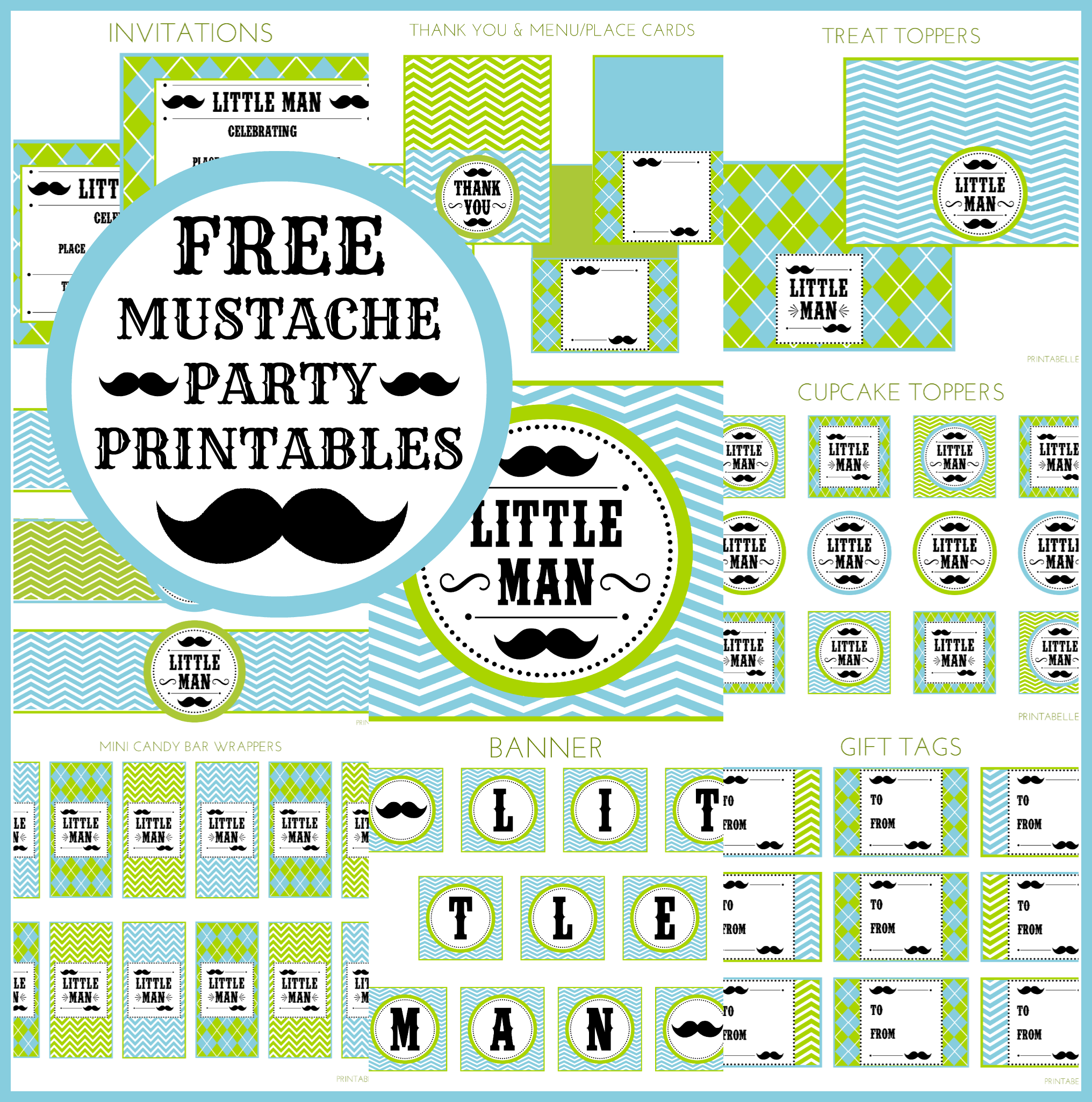 image regarding Free Mustache Printable titled Free of charge Minor Guy Mustache Occasion Social gathering Printables towards