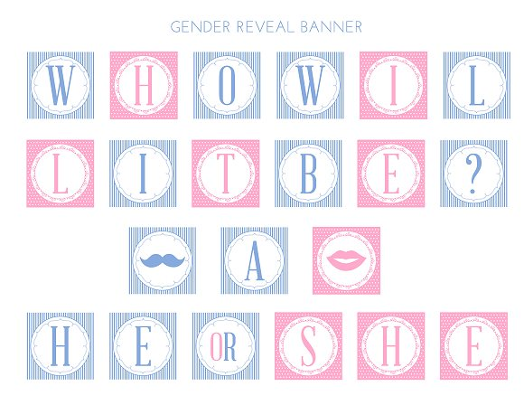 Comprehensive image with gender reveal printable