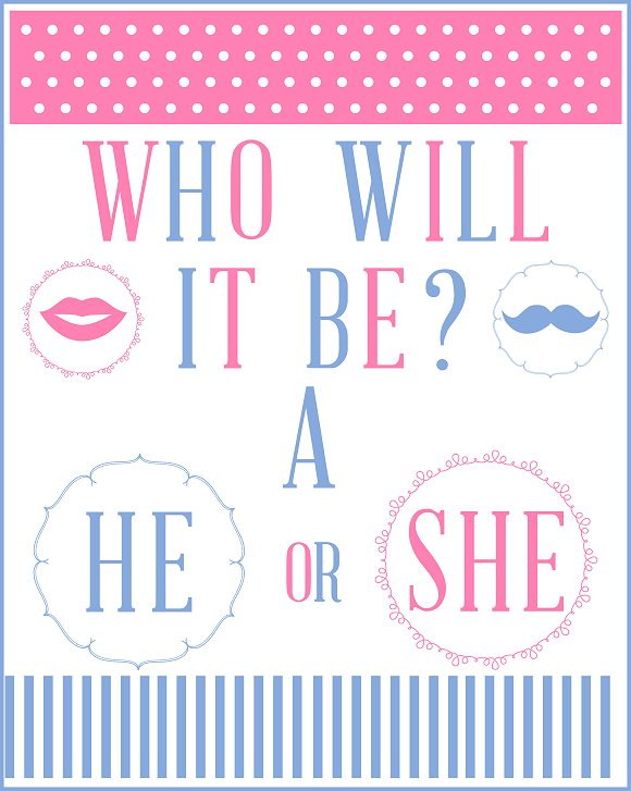 FREE Gender Reveal Baby Shower Party Printables from ...