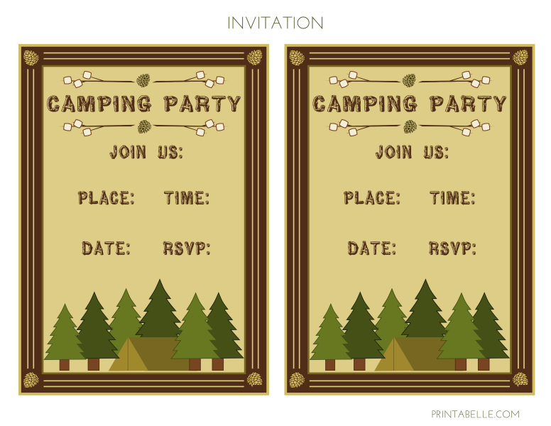 graphic relating to Free Printable Camping Signs titled Absolutely free Tenting Celebration Printables towards Printabelle Capture My Celebration