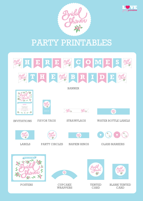 Catch My Party Offers Some Adorable Free Bridal Shower Printables. I Think  These Are Great Colors For The Springtime!  Bridal Shower Template