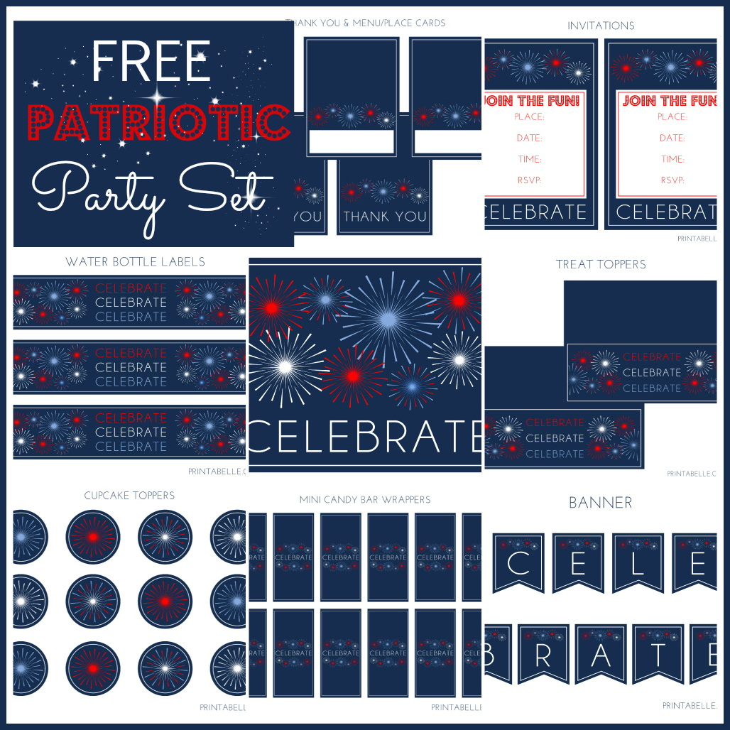 picture regarding Free Printable Patriotic Invitations called Free of charge Patriotic Get together Printables versus Printabelle Capture My