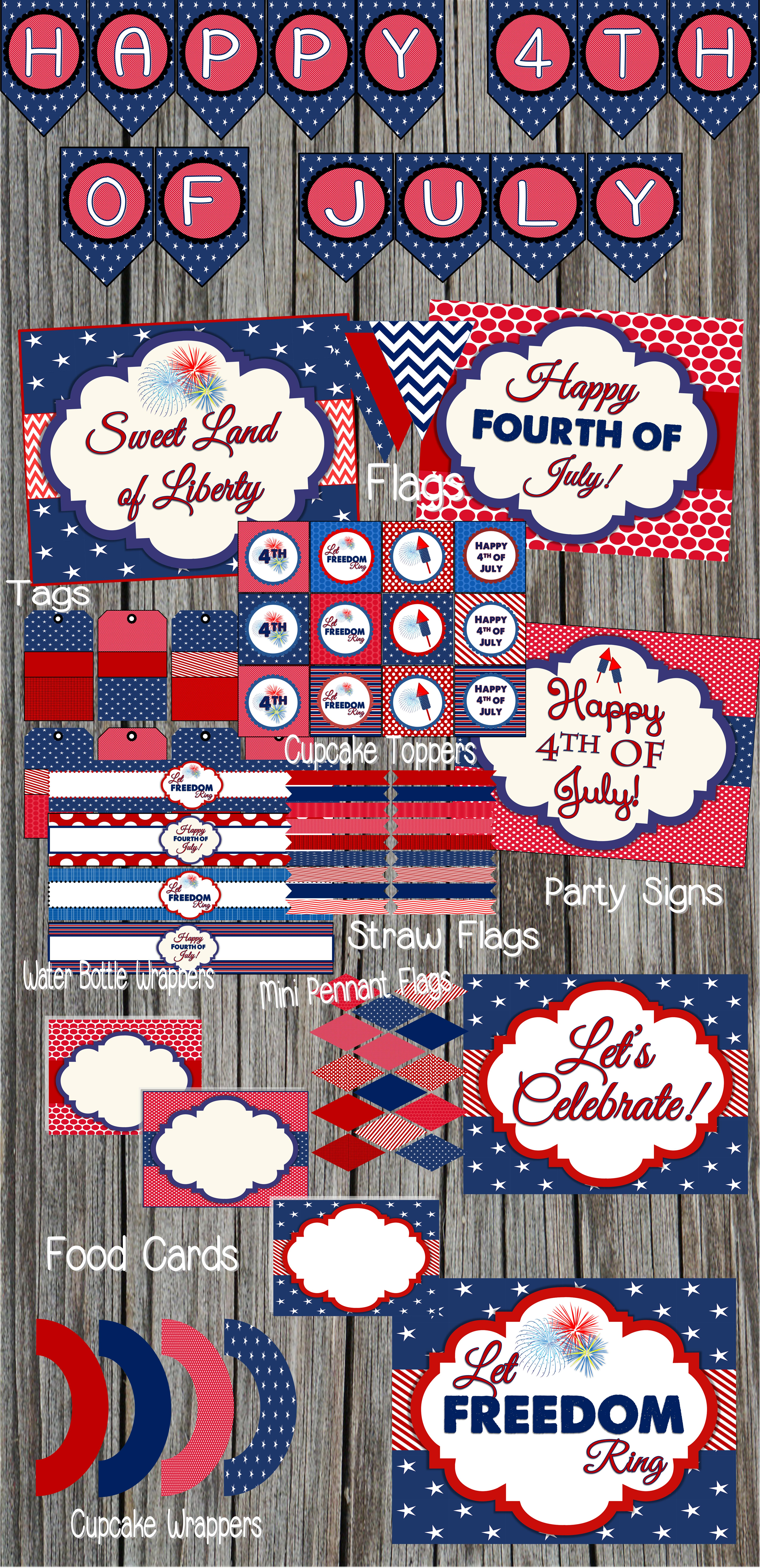 free 4th of july party printables by designs by serendipity catch my party. Black Bedroom Furniture Sets. Home Design Ideas