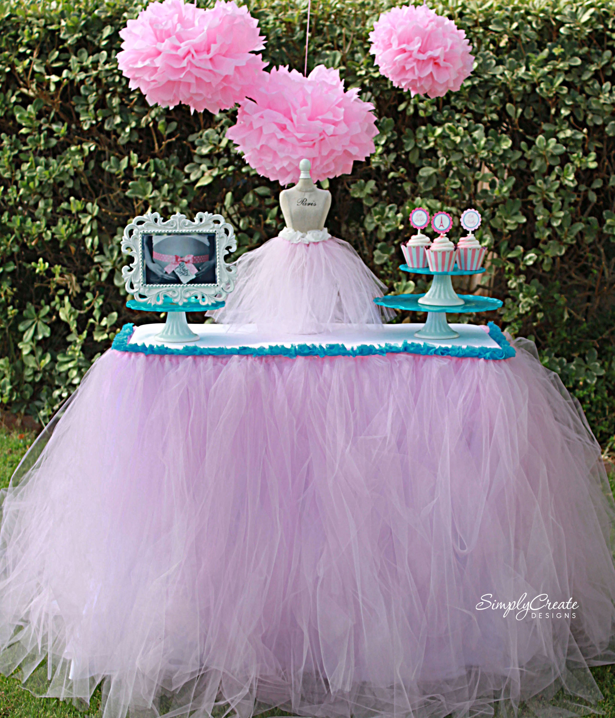 No Sew Tulle Table Skirt DIY CatchMyPartycom