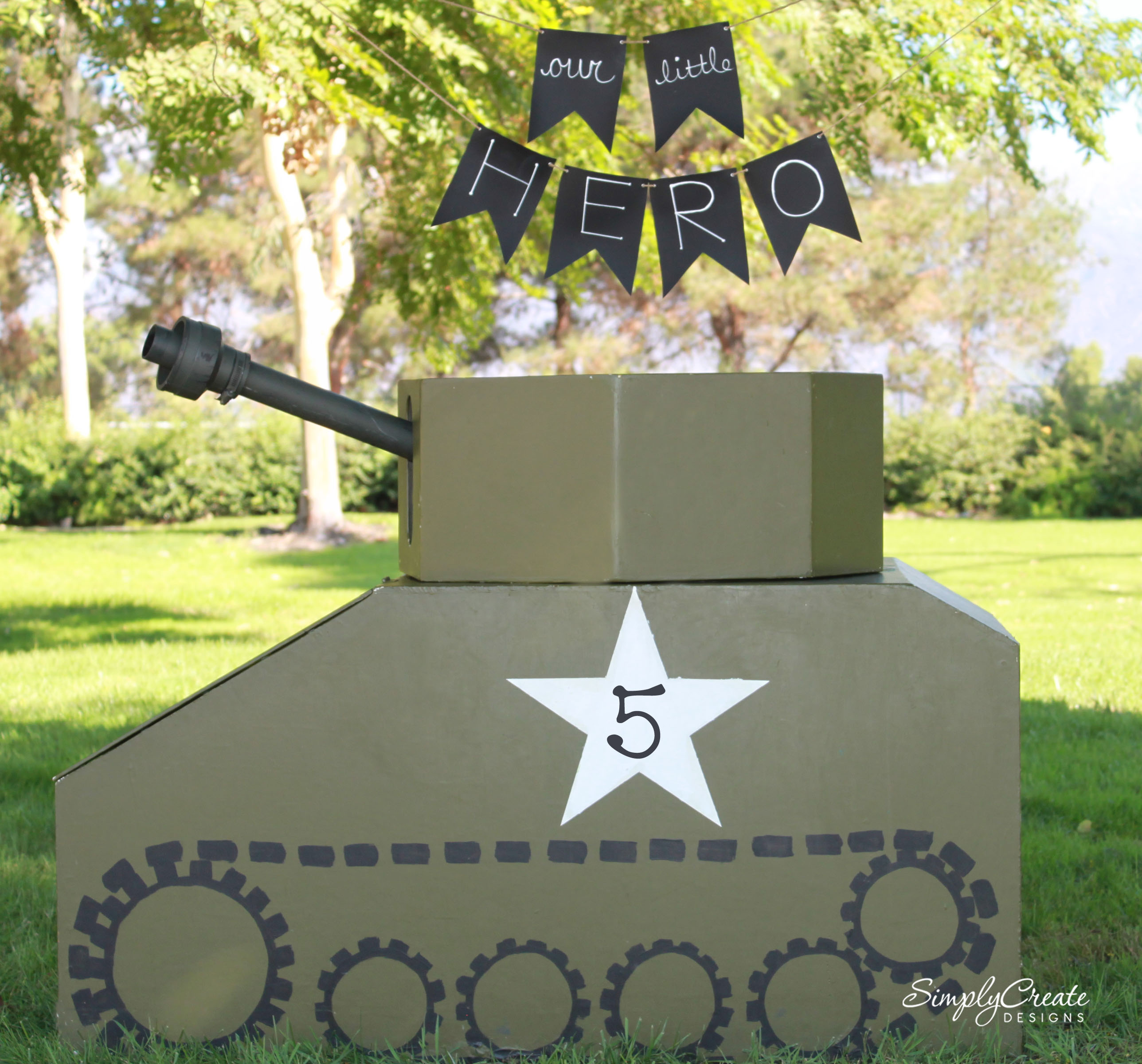 How to make a diy chalkboard fabric banner catch my party for Army decoration ideas