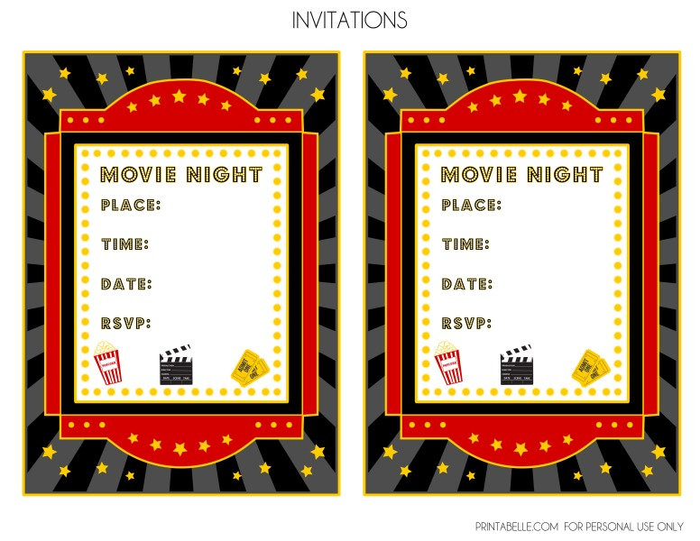 free movie night party printables by printabelle catch my party movie party invites