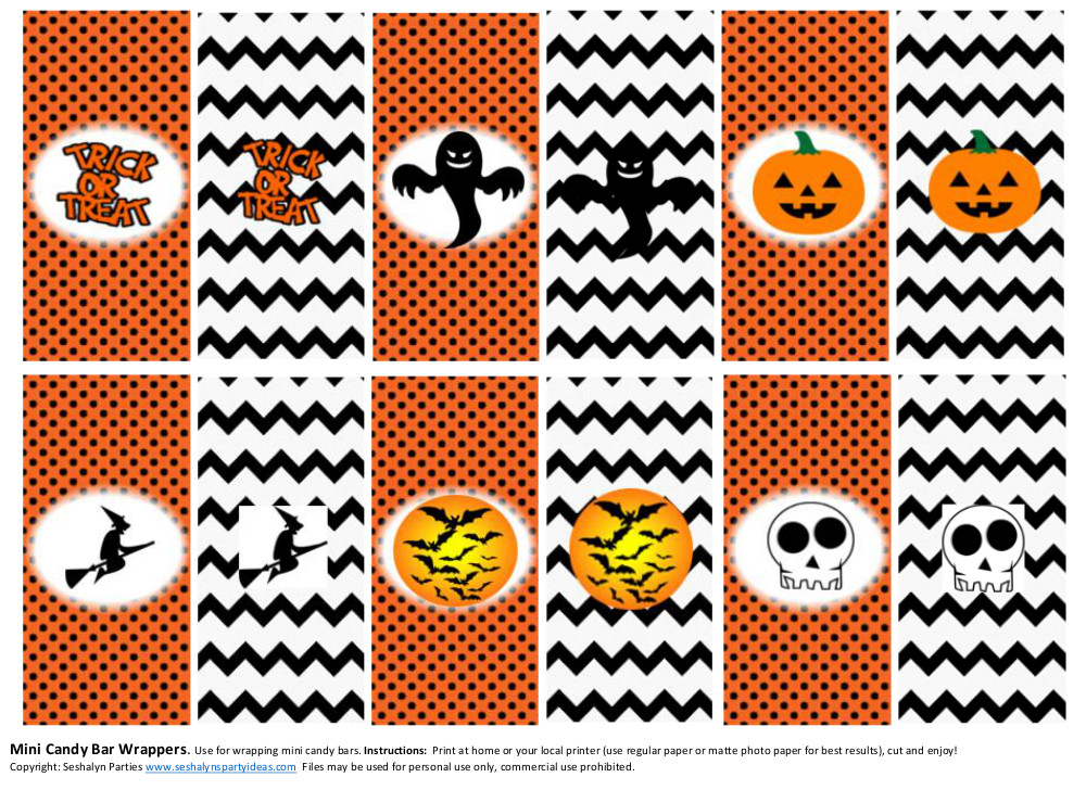 Halloween Candy Bar Wrappers