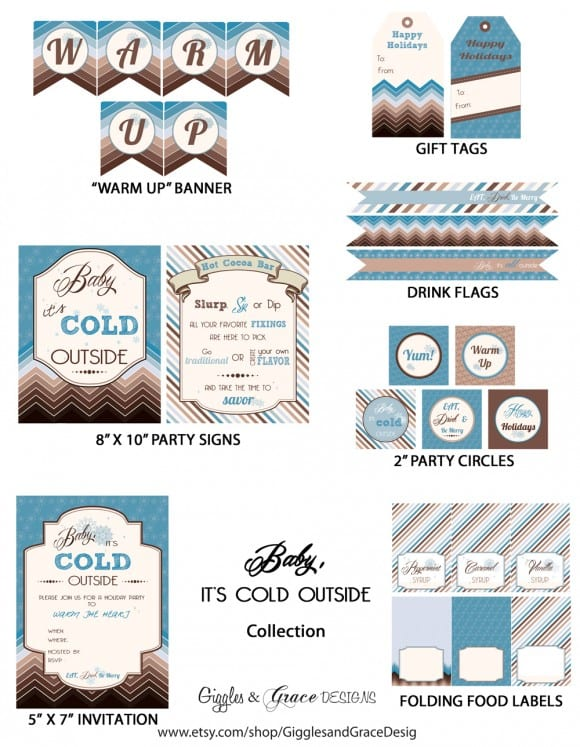 Free hot cocoa party printables