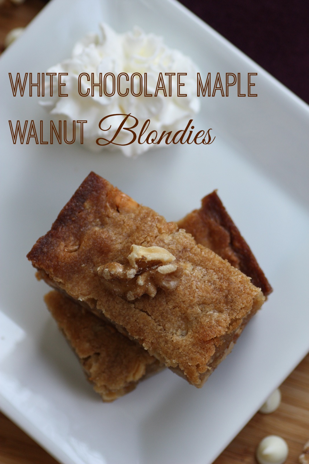 fun I had today baking these white chocolate maple walnut blondies ...