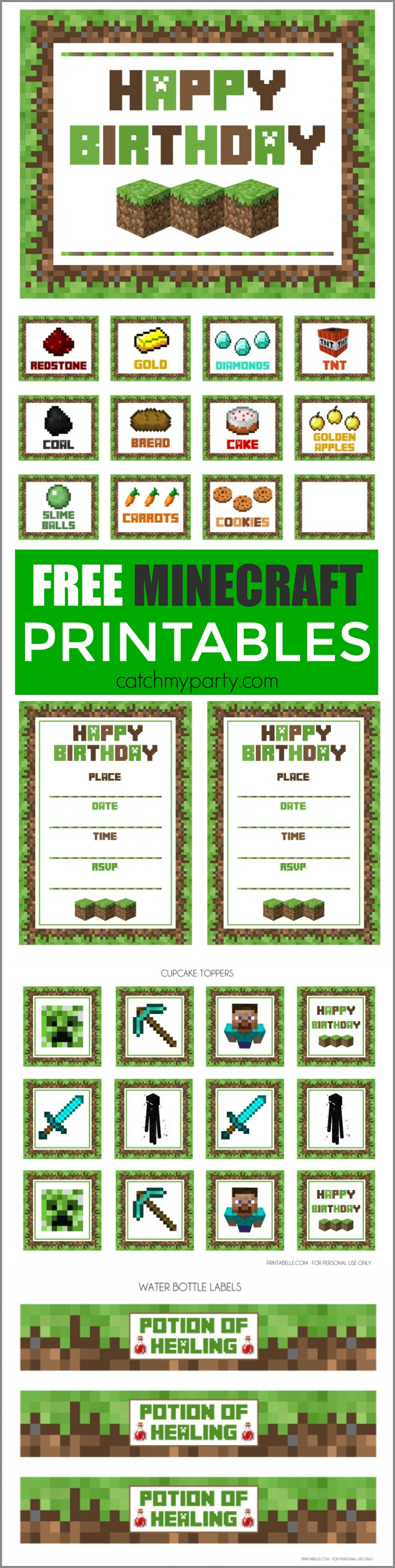 Free Minecraft Party Printables From Printabelle on Minecraft Birthday Party Activities