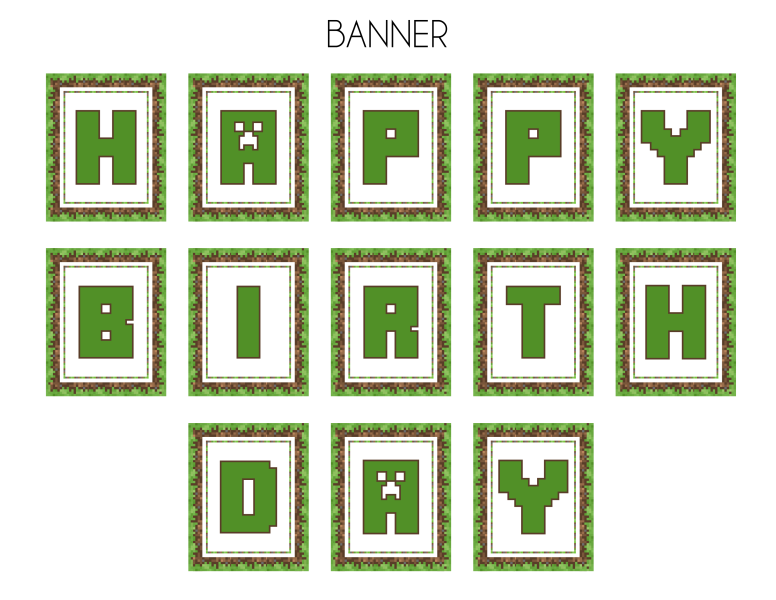 Amazing image inside minecraft birthday banner free printable