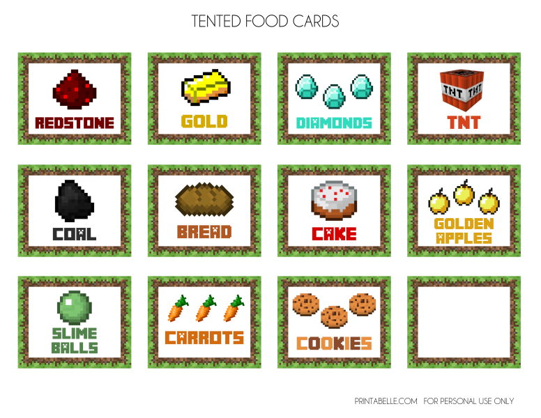 picture relating to Free Printable Food Labels for Party known as Obtain Those Wonderful Absolutely free Minecraft Printables! Capture My