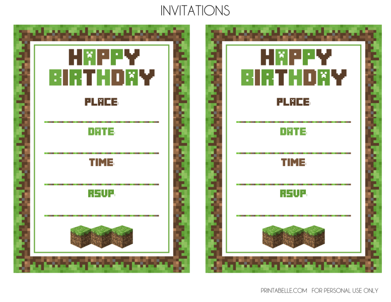 FREE Minecraft Printables – Printable Birthday Party Invitation Cards
